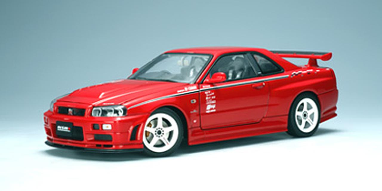 1 18 Autoart Nissan Skyline Gt R Gtr R34 Nismo R1 R Tune Version Active Red Diecast Car Model 77357 Livecarmodel Com