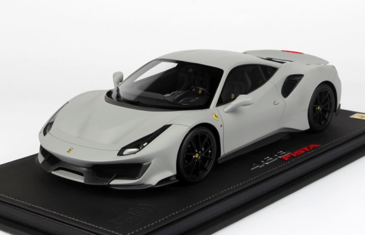 1 18 Bbr 2018 Ferrari 488 Pista Matte Grey Matt Grey Resin Car Model Limited 20 Livecarmodel Com