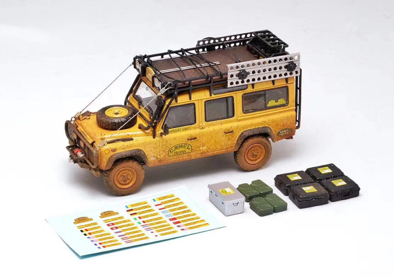 ALMOST REAL 1:43 MODELLINO DIE CAST LAND ROVER DEFENDER 110 CAMEL TROPHY MALESIA
