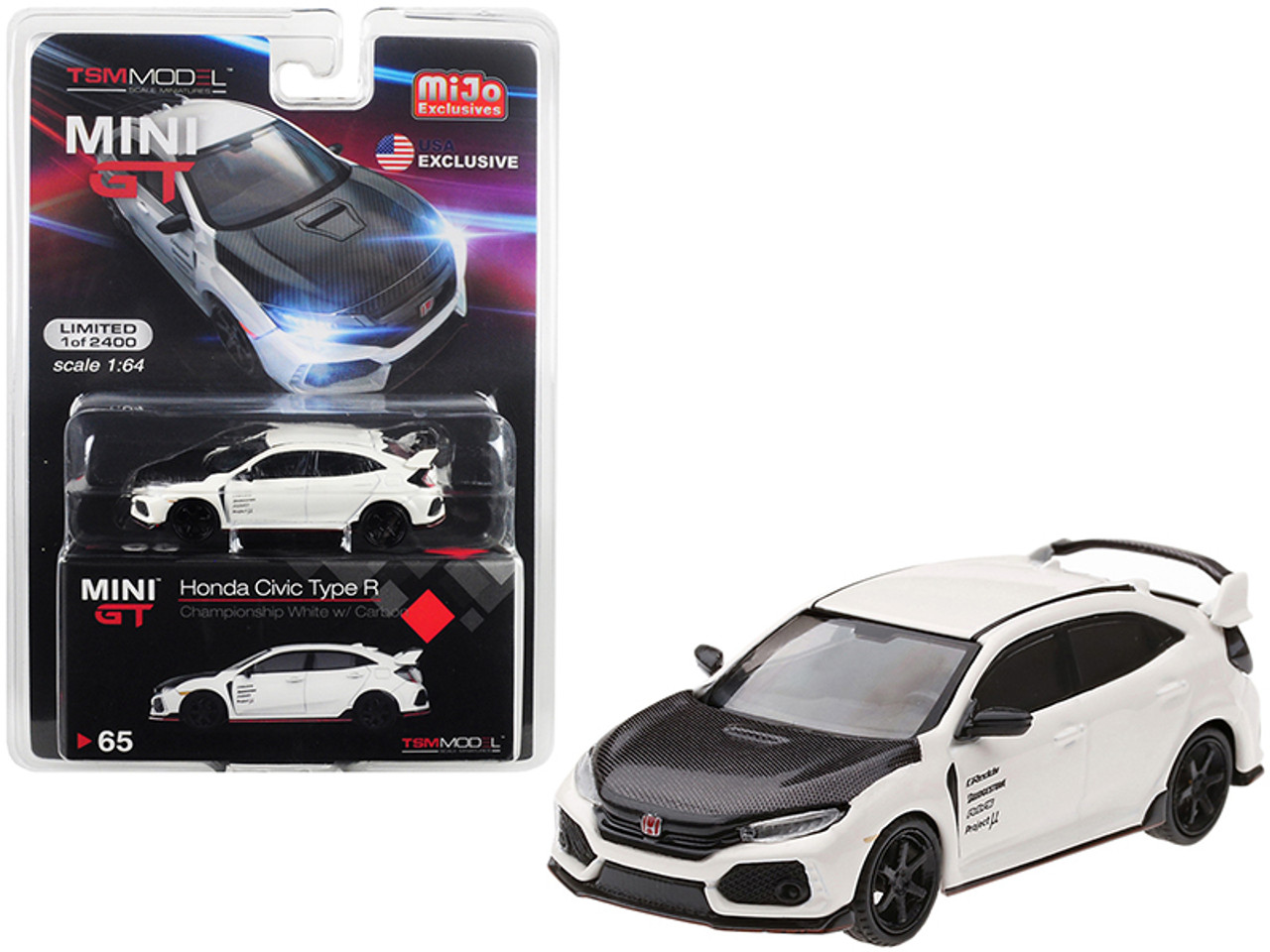 1/64 True Scale Miniatures Honda Civic Type R (FK8) Championship White with Carbon Hood and TE37 Wheels Limited Edition to 2,400 pieces Worldwide Diecast Car Model