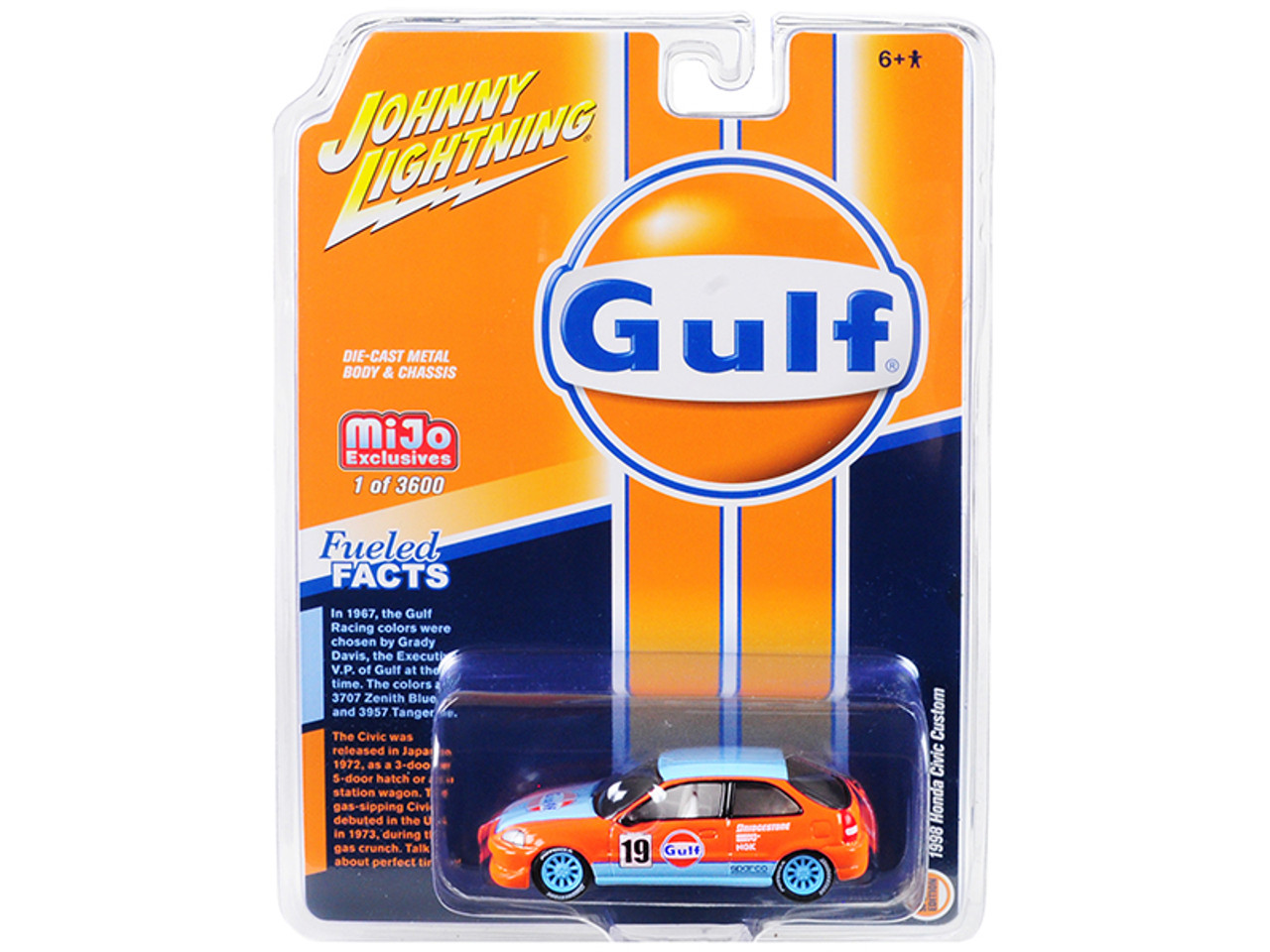 "1/64 Johnny Lightning 1998 Honda Civic Custom #19 ""Gulf Oil"" Limited Edition to 3,600 pieces Worldwide Diecast Car Model"