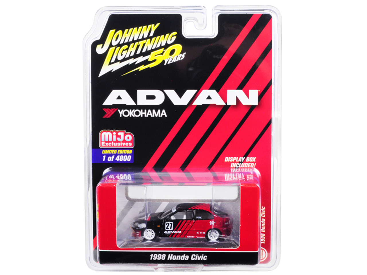 "1/64 Johnny Lightning 1998 Honda Civic #27 ADVAN Yokohama ""Johnny Lightning 50th Anniversary"" Limited Edition to 4,800 pieces Worldwide Diecast Car Model"