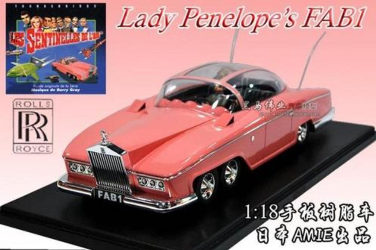 NEW IN BOX RARE HANDMADE RESIN 1/18 AMIE ROLLS-ROYCE LADY PENELOPE'S FAB1 MODEL