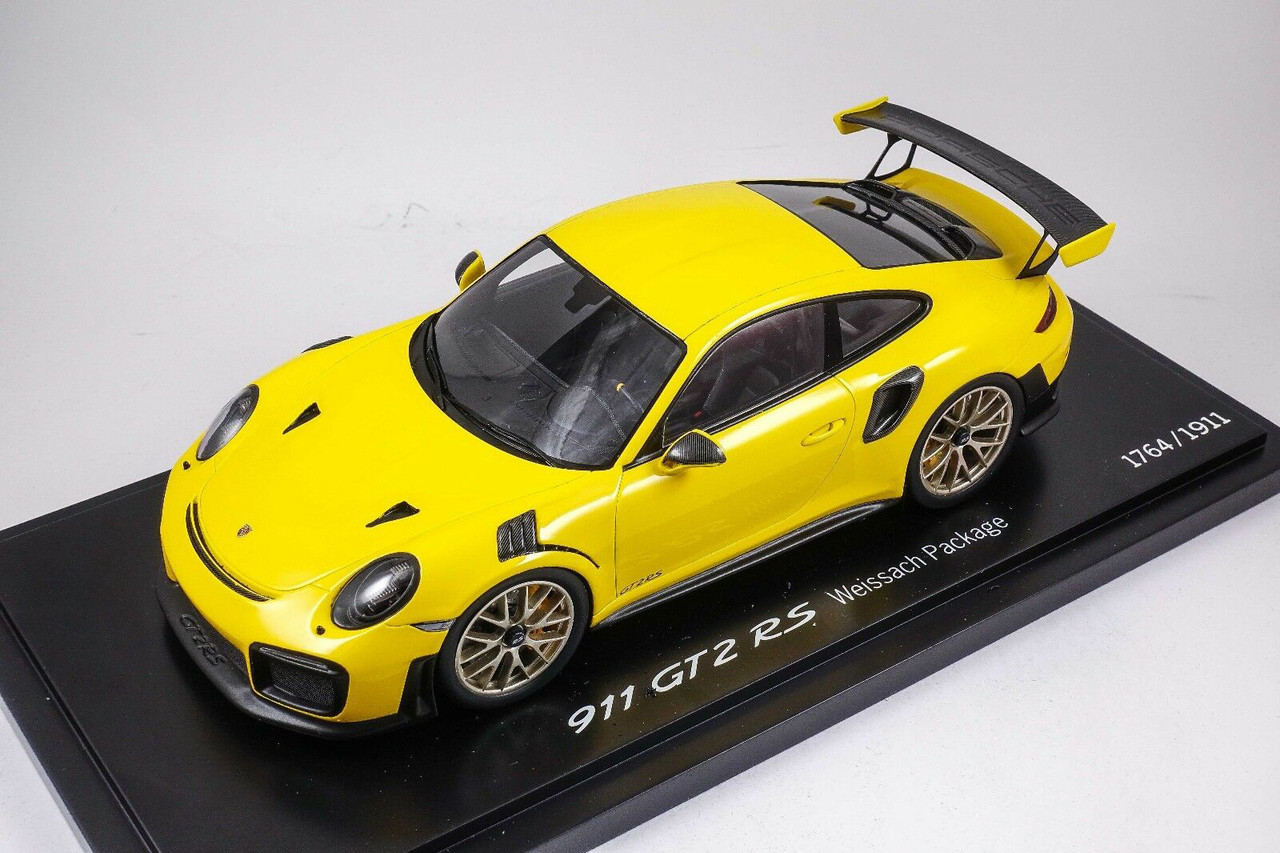 1 18 Spark Porsche 911 Gt2 Rs Gt2rs Weissach Package Yellow Resin Car Model Livecarmodel Com