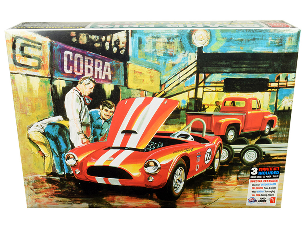 amt Ford /'53 Pick Up 1:25 Racing Cobra on Trailer