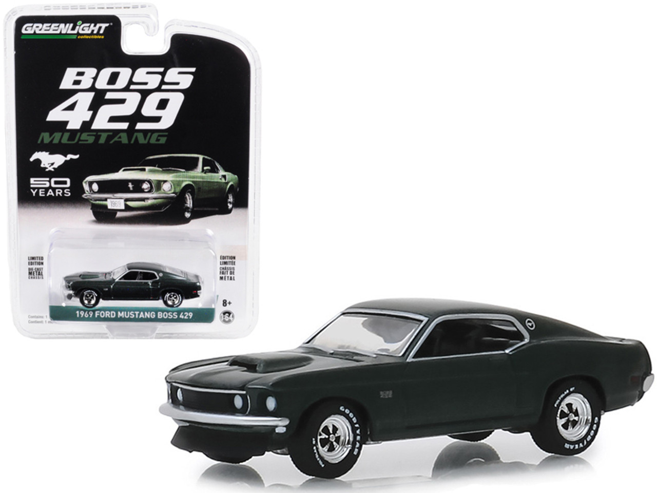 """1969 Ford Mustang Boss 429 """"50th Anniversary"""" Dark Green """"Anniversary Collection"""" Series 8 1/64 Diecast Model Car by Greenlight"""