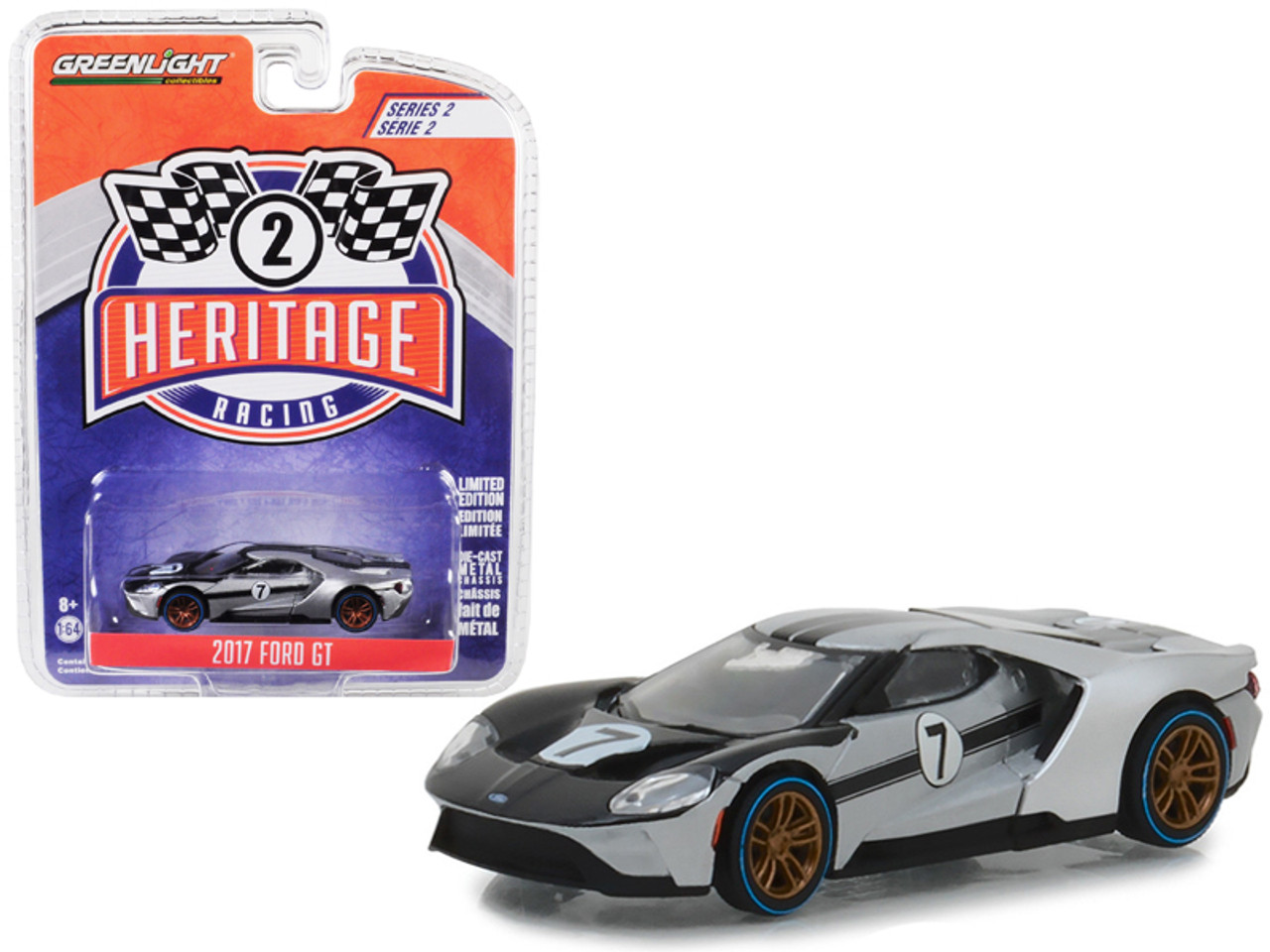 GREENLIGHT HOBBY EXCLUSIVE INGOT SILVER BLACK STRIPES 2017 FORD GT SUPERCAR