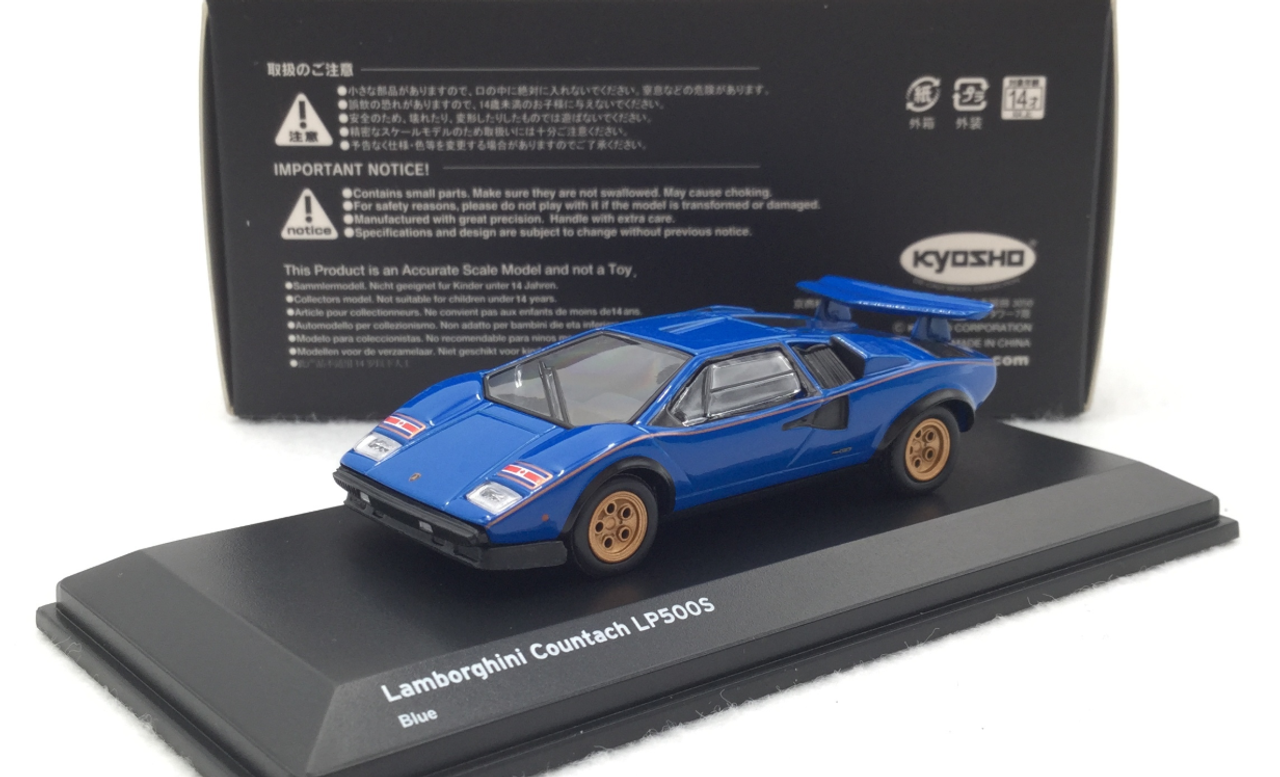 1:64 Scale KYOSHO Car Model Lamborghini Countach LP500S Blue Car Toy Collectible