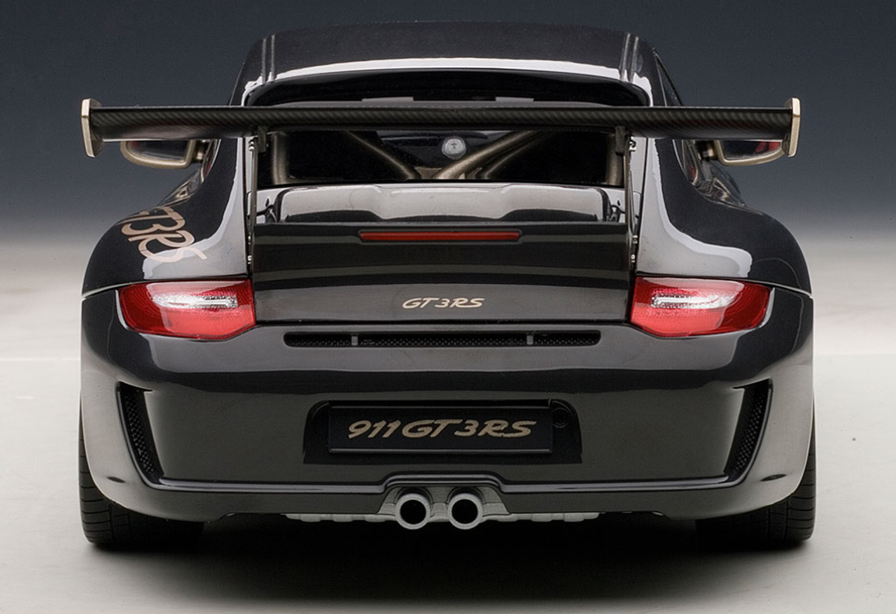 1/18 AUTOART PORSCHE 911(997) GT3 RS 3 8 (GREY BLACK W/ WHITE GOLD METALLIC  STRIPES) Diecast Car Model 78142