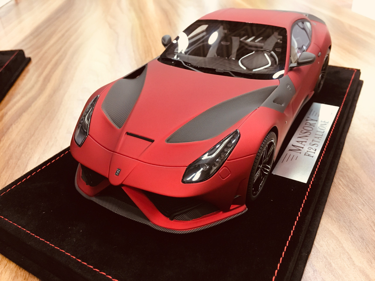 1 18 Mansory Ferrari F12 Matte Red W White Brake Caliper Resin Car Model Livecarmodel Com