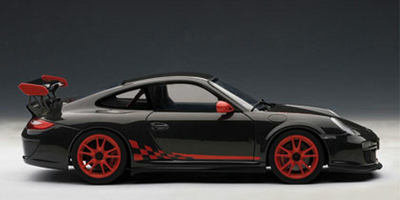 1/18 AUTOART PORSCHE 911(997) GT3 RS 3 8 (GREY BLACK W/ GUARDS RED STRIPES)  Diecast Model 78141