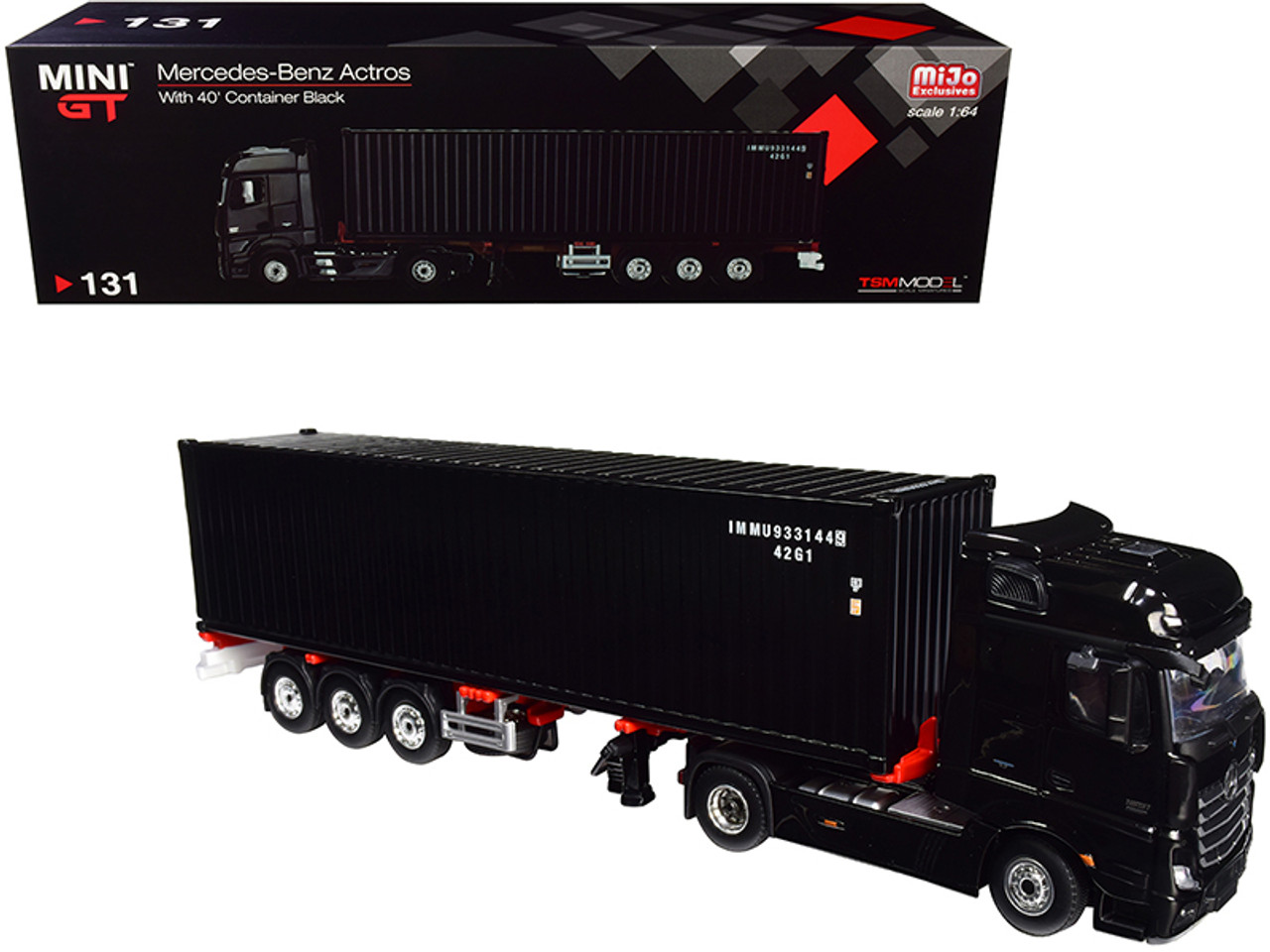 Mercedes Benz Actros with Trailer and 40' Container Black 1/64 Diecast Model by True Scale Miniatures