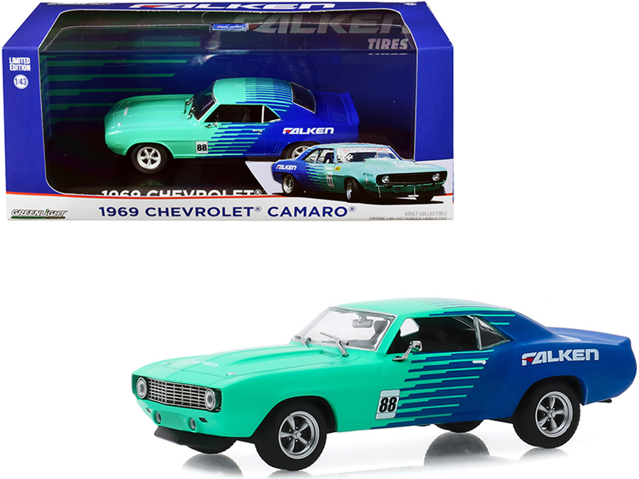 "1969 Chevrolet Camaro #88 ""Falken Tires"" 1/43 Diecast Model Car by Greenlight"