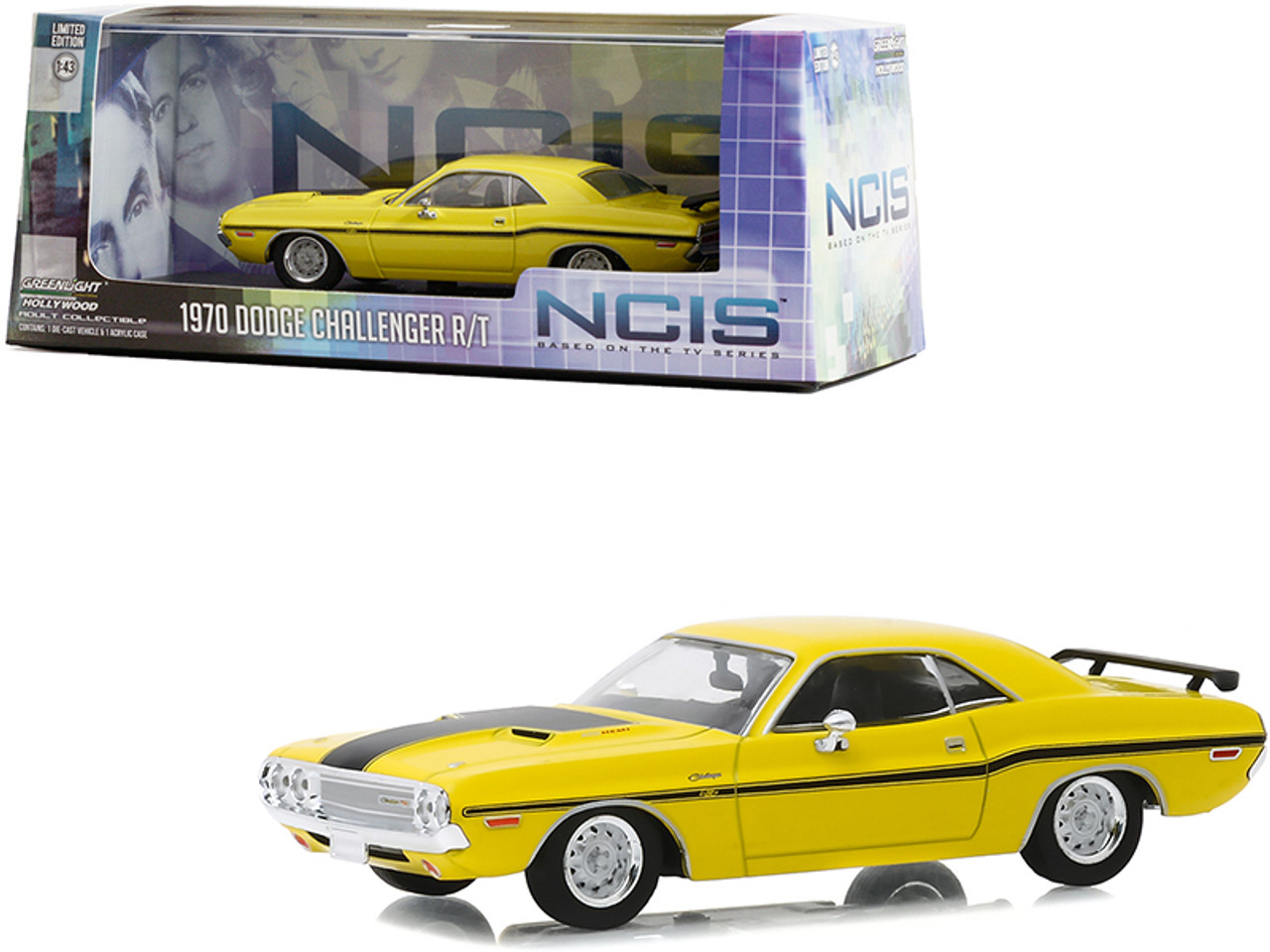 """1970 Dodge Challenger R/T Yellow with Black Stripes """"NCIS"""" (2003) TV Series 1/43 Diecast Model Car by Greenlight"""