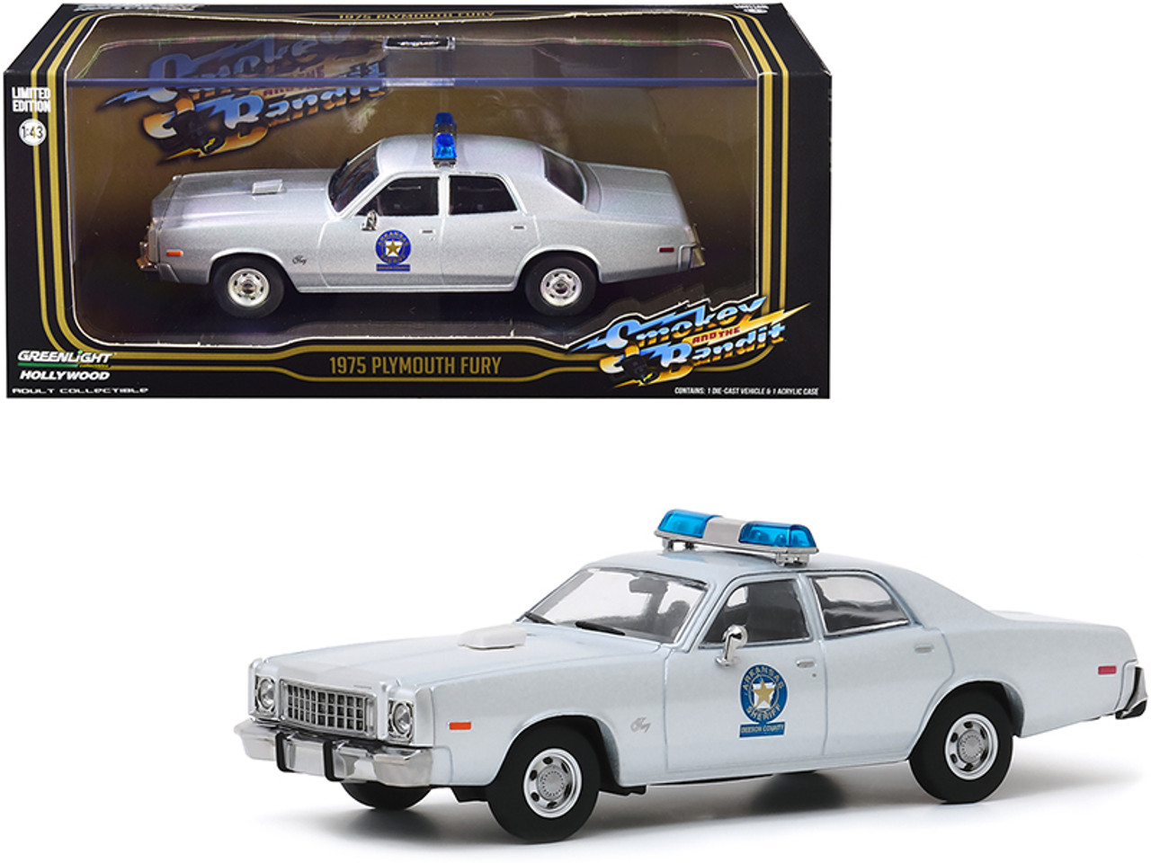 """1975 Plymouth Fury Silver """"Arkansas Sheriff"""" """"Smokey and the Bandit"""" (1977) Movie 1/43 Diecast Model Car by Greenlight"""