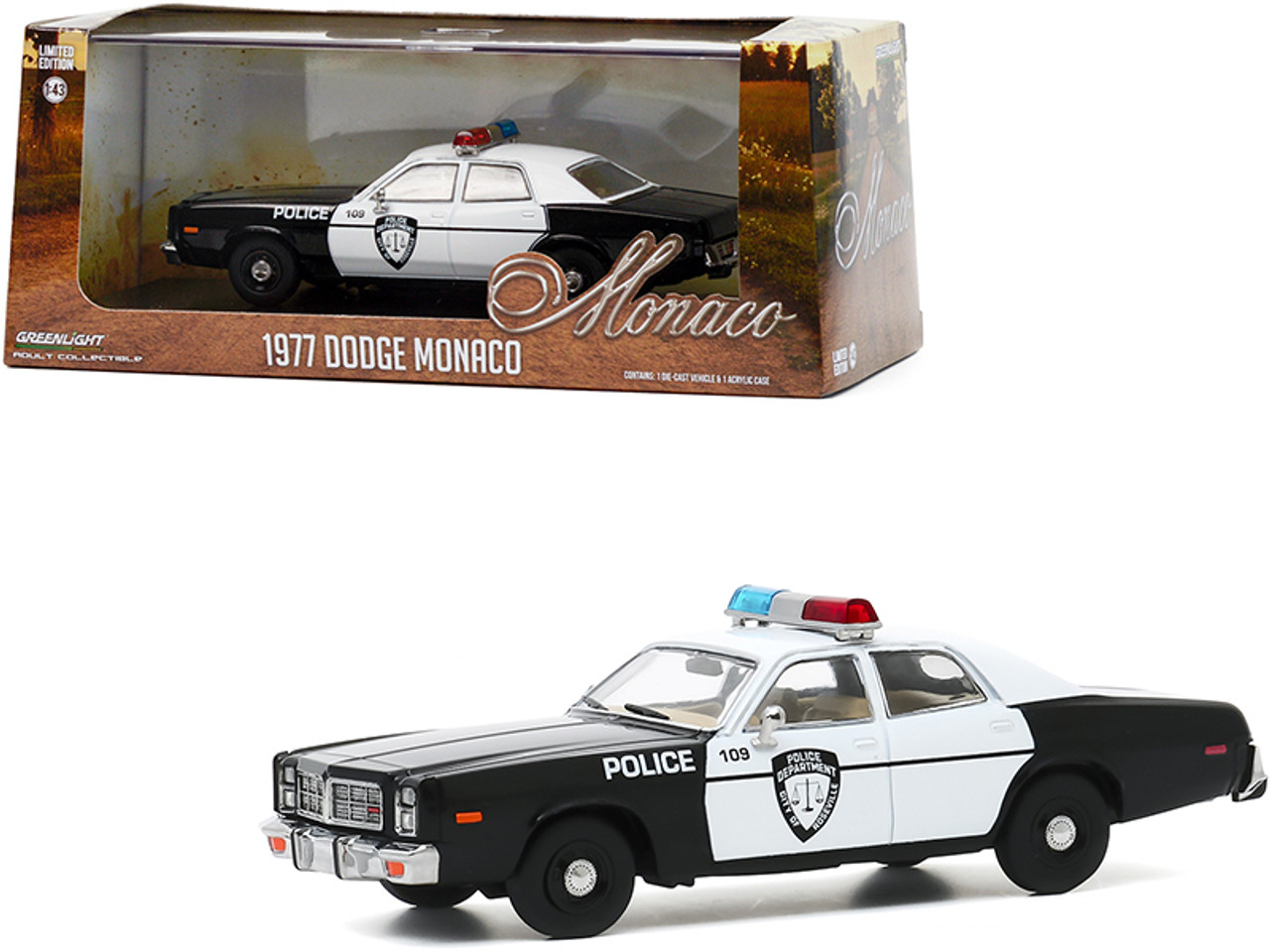 "1977 Dodge Monaco White and Black ""Police Department City of Roseville"" 1/43 Diecast Model Car by Greenlight"