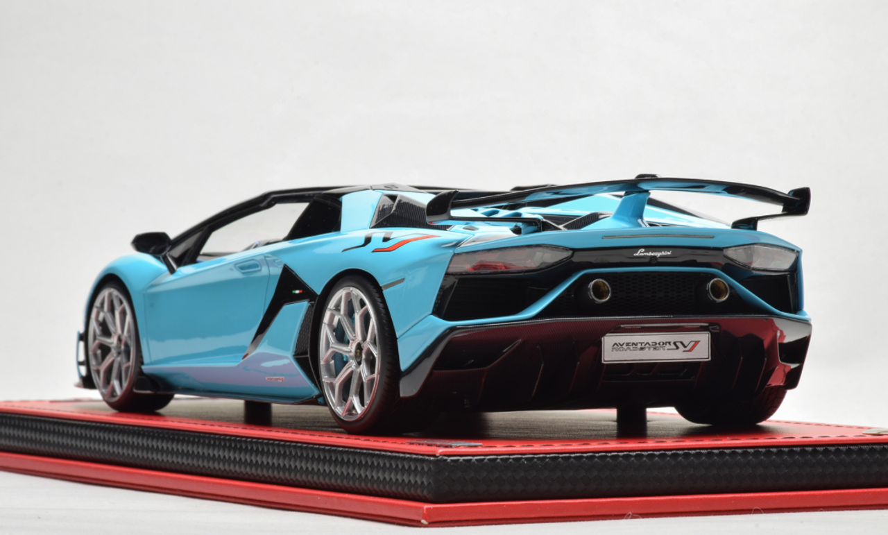 1 18 Mr Lamborghini Aventador Svj Roadster Baby Blue Resin Car Model Limited 15 Pieces Livecarmodel Com