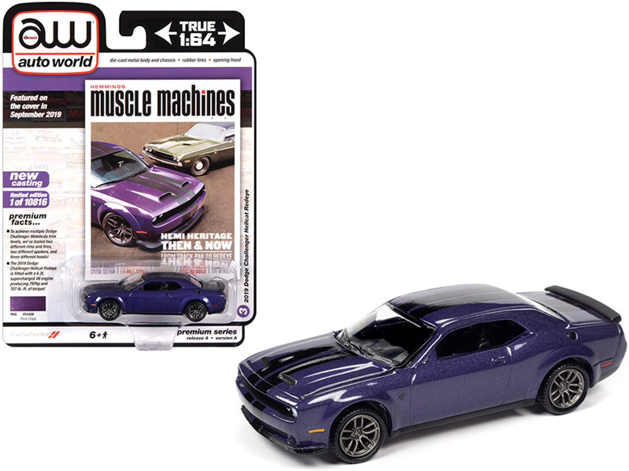 2019 Dodge Challenger Hellcat Redeye Plum Crazy Metallic With Twin Black Stripes Hemmings Muscle Machines Magazine Cover Car September 2019 Limited Edition To 10816 Pieces Worldwide 1 64 Diecast Model Car By Autoworld Livecarmodel Com