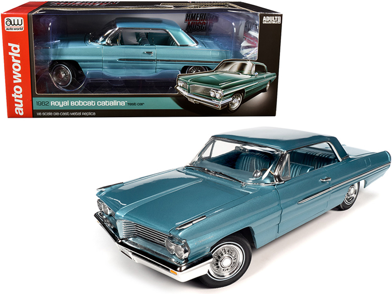 1962 Pontiac Royal Bobcat Catalina Hardtop Test Car Aquamarine 1 18 Diecast Model Car By Autoworld Livecarmodel Com