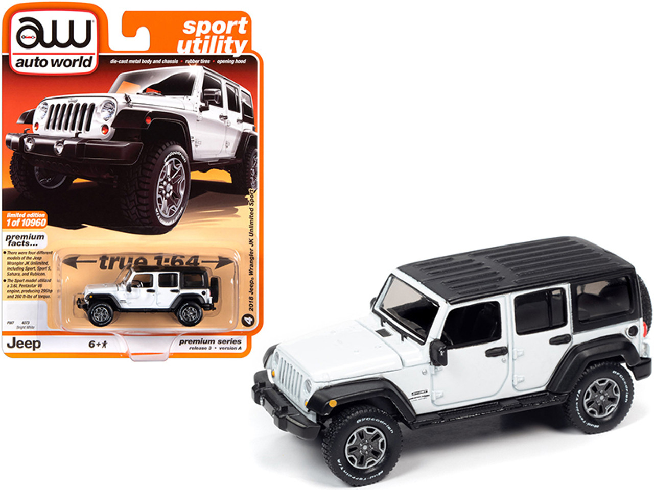 2018 Jeep Wrangler Jk Unlimited Sport 4 Door Bright White With Black Top Sport Utility Limited Edition To 10960 Pieces Worldwide 1 64 Diecast Model Car By Autoworld Livecarmodel Com