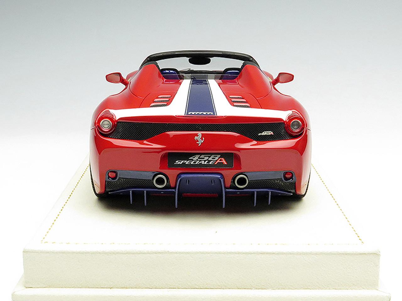 Mr 1 18 Ferrari 458 Speciale Aperta Red W Blue White Stripes Livecarmodel Com