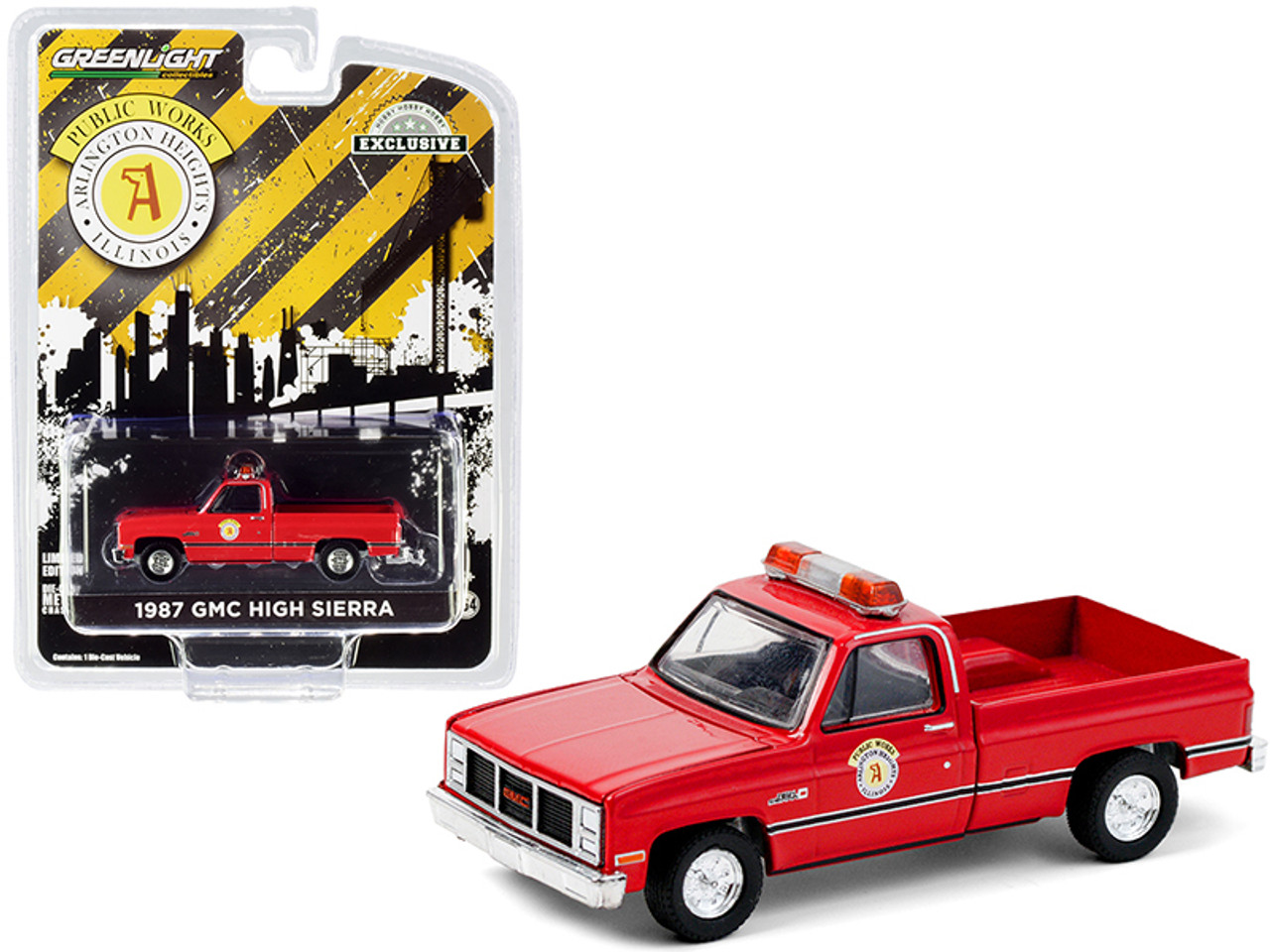 """1987 GMC High Sierra Pickup Truck Red """"Public Works"""" (Arlington Heights, Illinois) """"Hobby Exclusive"""" 1/64 Diecast Model Car by Greenlight"""