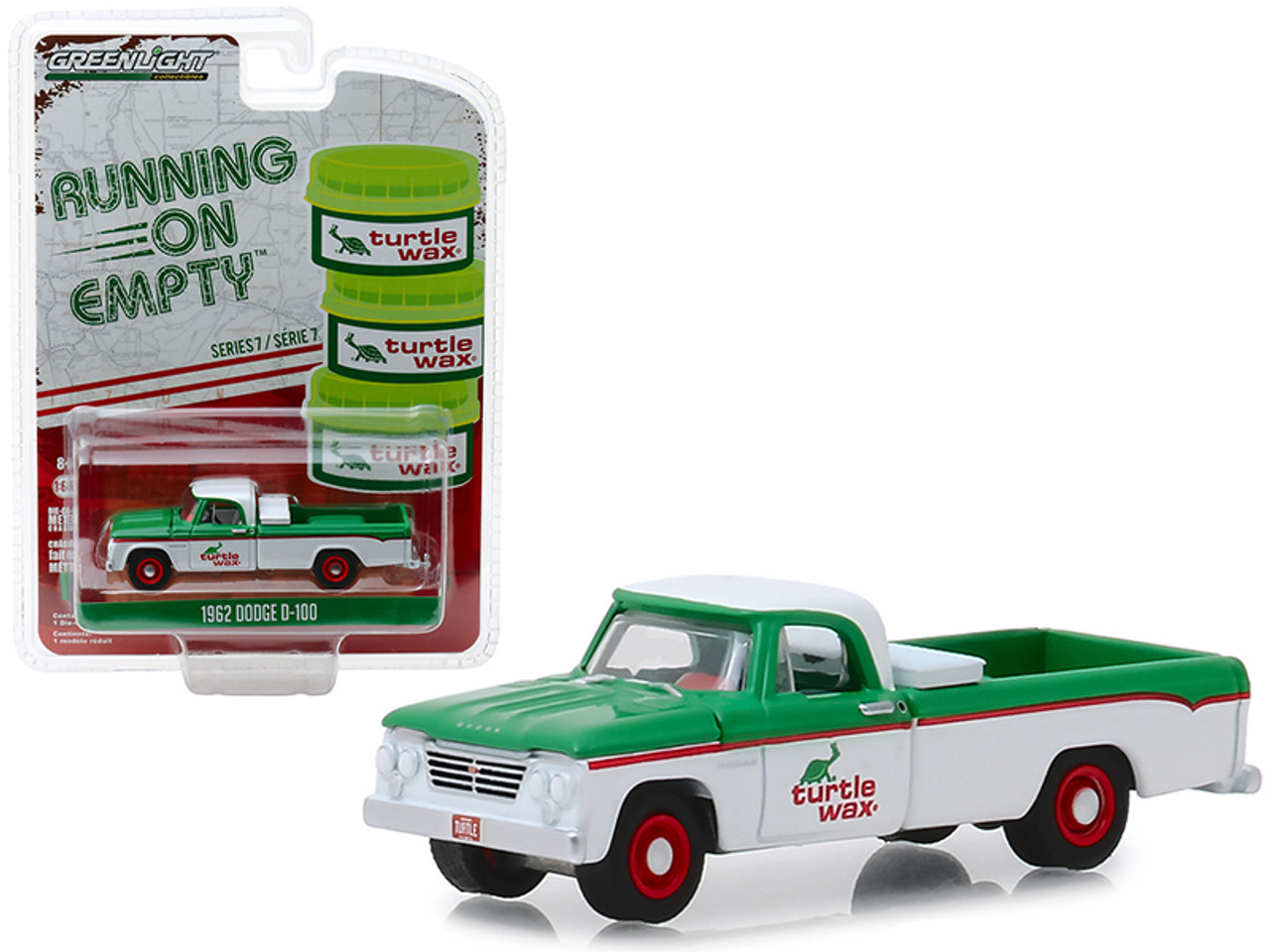 1962 Dodge D 100 Turtle Wax Pickup Truck White And Green Running On Empty Series 7 1 64 Diecast Model Car By Greenlight Livecarmodel Com