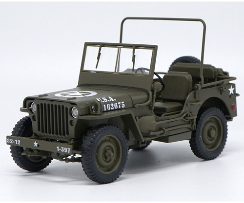 1/18 Welly FX Classic Jeep Willys M151 WW2 Quarter 1/4 Ton Army Truck (Green) Diecast Car Model