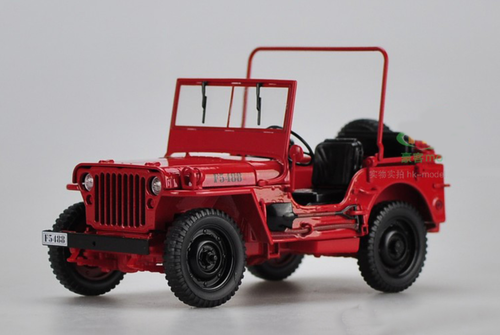 1/18 Welly FX Classic Jeep Willys M151 WW2 Quarter 1/4 Ton Army Truck (Red) Diecast Car Model