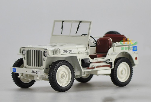 1/18 Welly FX Classic Jeep Willys M151 WW2 Quarter 1/4 Ton Army Truck (White) Diecast Car Model