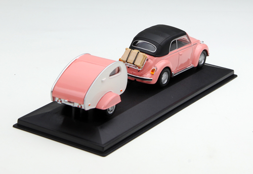 1/43 Volkswagen VW Beetle w/ Caravan (Pink) Diecast Car Model