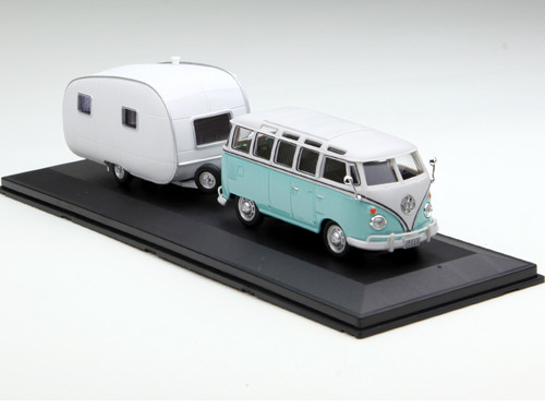 1/43 Volkswagen VW T1 Bus Samba w/ Caravan II Diecast Car Model
