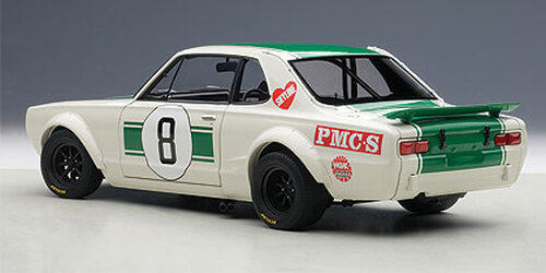 1/18 AUTOart NISSAN SKYLINE GT-R GTR (KPGC-10) KPGC10 RACING 1971 MASAHIRO HASEMI #8 JAPAN GP 2ND PLACE Diecast Car Model
