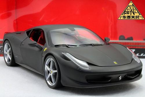 1/18 Hot Wheels Ferrari 458 Italia (Matte Black) Diecast Car Model