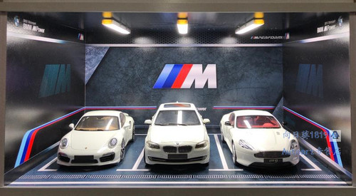 1/18 BMW M Theme 3 Car Garage Parking Scene w/ Lights (car model not included)