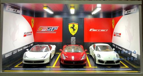 1/18 Ferrari Theme 3 Car Garage Parking Scene w/ Lights (car model not included)
