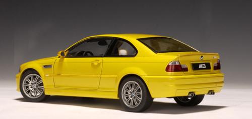 RARE 1/18 AUTOart BMW E46 M3 (Yellow) Diecast Car Model 70542