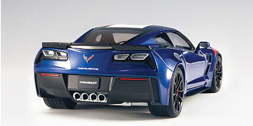 1/18 AUTOart CHEVROLET CORVETTE GRAND SPORT (ADMIRAL BLUE/WHITE STRIPES/RED FENDER HASH MARKS) Diecast Car Model 71275