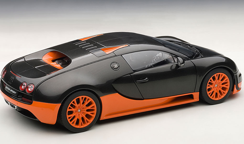 1/18 AUTOart BUGATTI VEYRON SUPER SPORT (CARBON BLACK/ORANGE SIDE SKIRTS) Diecast Car Model 70936