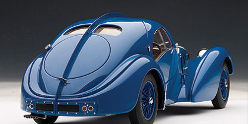 1/18 AUTOart 1938 BUGATTI 57 SC 57SC ATLANTIC - BLUE WITH BLUE METAL WIRE-SPOKE WHEELS Diecast Car Model 70942