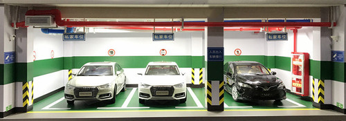 1/18 Three Cars Underground Garage Parking Structure Car Model Scene w/ Lights (car models not included)