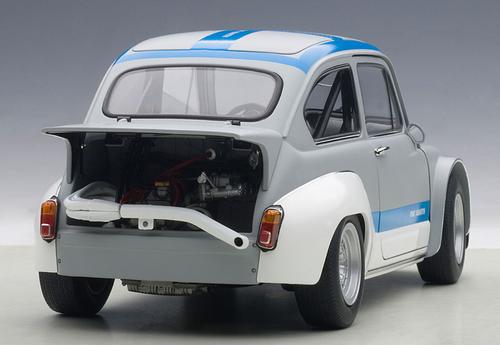 1/18 AUTOart FIAT ABARTH 1000 TCR (MATT GREY/BLUE STRIPES) Diecast Car Model 72642