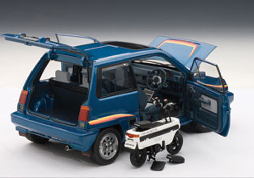1/18 AUTOart HONDA CITY TURBO II - BLUE WITH STRIPES WITH MOTOCOMPO IN WHITE Diecast Car Model 73283