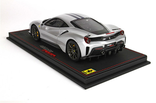 1/18 BBR Ferrari 488 Pista (Silver w/ Blue Stripe) Resin Car Model Limited