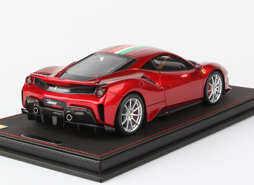 1/18 BBR Ferrari 488 Pista (Metallic Red w/ Italian Flag) Resin Car Model Limited