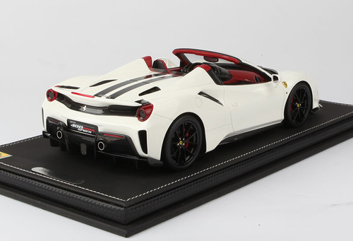 1/18 BBR Ferrari 488 Pista Spider (White w/ Black Stripe) Resin Car Model Limited