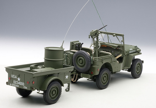 1/18 AUTOart JEEP WILLYS (ARMY GREEN)(WITH TRAILER/ACCESSORIES INCLUDED) Diecast Car Model 74016