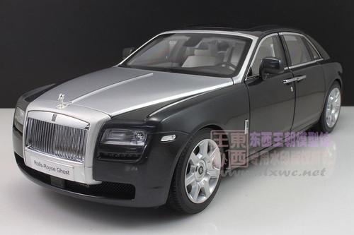 1/18 Kyosho Rolls-Royce Ghost (Black / Darkest Tungsten with Silver Bonnett) Diecast Car Model