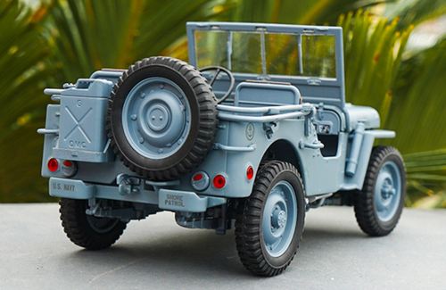 1/18 Welly FX Classic Jeep Willys M151 WW2 Quarter 1/4 Ton Army Truck (Blue / Grey) Diecast Car Model