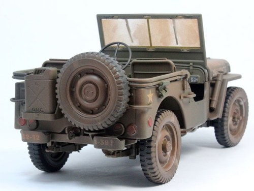 1/18 Welly FX Classic Jeep Willys M151 WW2 Quarter 1/4 Ton Army Truck (Green Dirt Version) Diecast Car Model